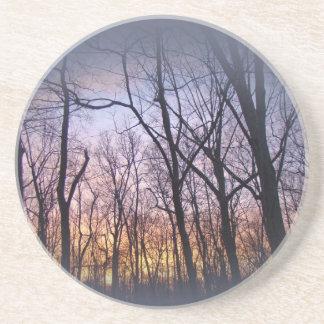 Green Lane PA Woodland Winter Sunset Drink Coaster
