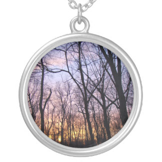 Green Lane PA Woodland Winter Sunset Silver Plated Necklace