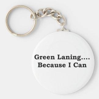 Green laning black basic round button keychain