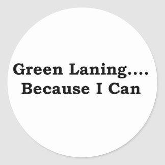 Green laning black classic round sticker