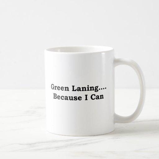 Green laning black coffee mug