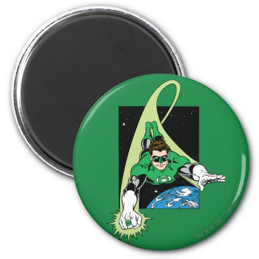 Green Lantern and Earth 2 Inch Round Magnet