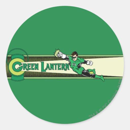 Green Lantern and Logo Classic Round Sticker