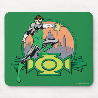 Green Lantern City Background and Logo Mouse Pad