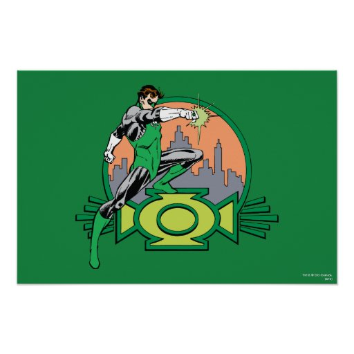Green Lantern City Background and Logo Poster