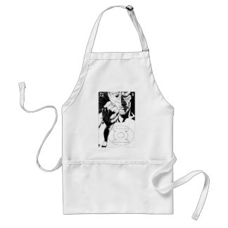 Green Lantern close up cover, Black and White Adult Apron