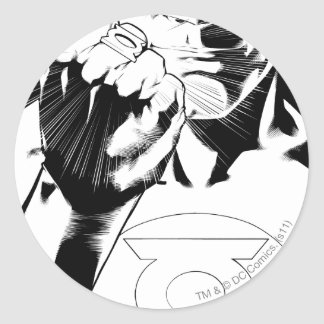 Green Lantern close up cover, Black and White Classic Round Sticker