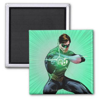 Green Lantern & Glowing Ring 2 Inch Square Magnet