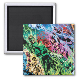Green Lantern Group - Color 2 Inch Square Magnet