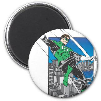 Green Lantern Lands in City 2 Inch Round Magnet