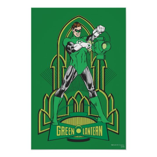 Green Lantern on decorative background Poster