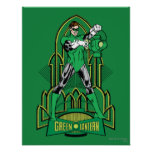 Green Lantern on decorative background Poster