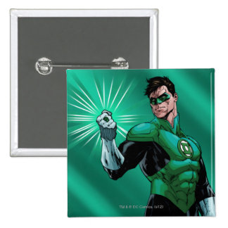Green Lantern & Ring 2 Inch Square Button