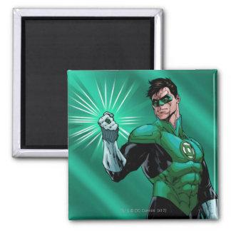 Green Lantern & Ring 2 Inch Square Magnet