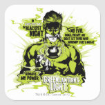 Green Lantern Text Collage - Color Square Stickers