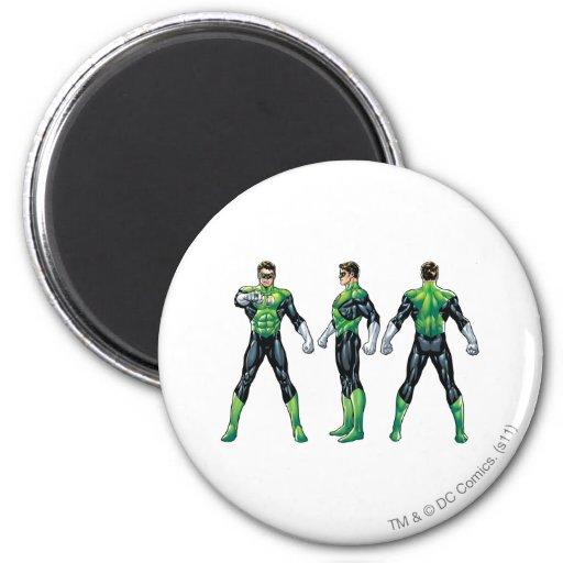 Green Lantern Three Views 2 Inch Round Magnet