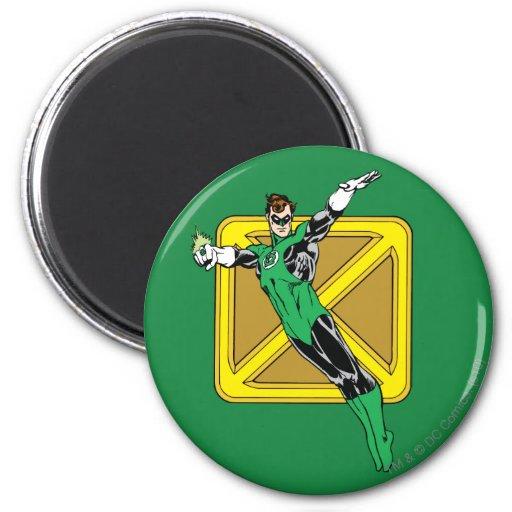 Green Lantern  with Background 2 Inch Round Magnet