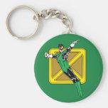 Green Lantern  with Background Basic Round Button Keychain