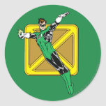Green Lantern  with Background Classic Round Sticker
