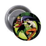Green Lantern with cape in fight 2 Inch Round Button