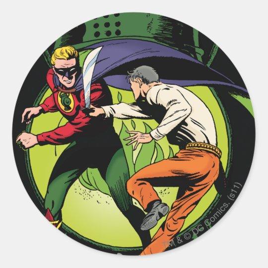 Green Lantern with cape in fight Classic Round Sticker