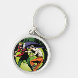 Green Lantern with cape in fight Keychain