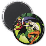 Green Lantern with cape in fight 2 Inch Round Magnet