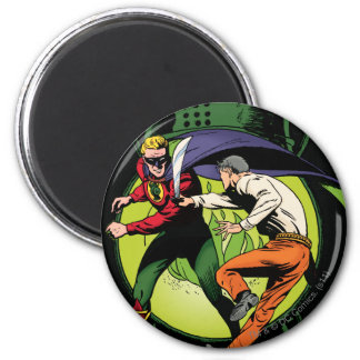 Green Lantern with cape in fight Magnet