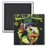 Green Lantern with cape in fight 2 Inch Square Magnet