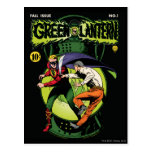 Green Lantern with cape in fight Postcard