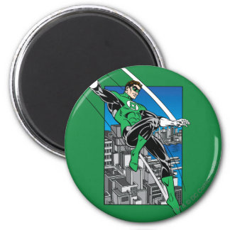 Green Lantern with City Background Magnet