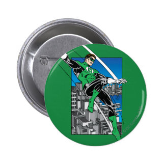 Green Lantern with City Background Pinback Button