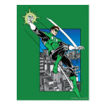 Green Lantern with City Background Postcard