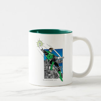 Green Lantern with City Background Two-Tone Coffee Mug
