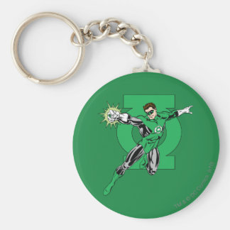 Green Lantern with Logo Background Keychain