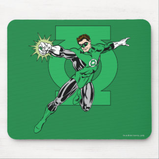 Green Lantern with Logo Background Mouse Pad