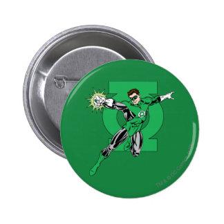 Green Lantern with Logo Background Pinback Button