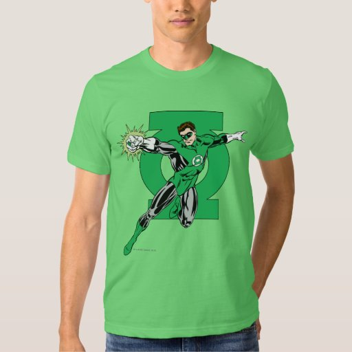 Green Lantern with Logo Background T Shirt