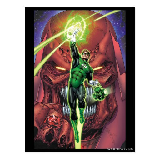 Green Lantern with stream of light - Color Postcard