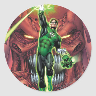 Green Lantern with stream of light - Color Classic Round Sticker