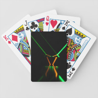 green laser beam reflection bicycle playing cards