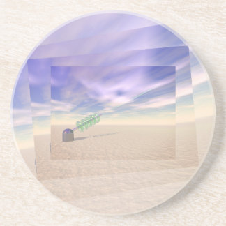 Green Laser Technology Sandstone Coaster