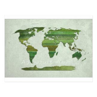 green Lat Stripes Map Postcard
