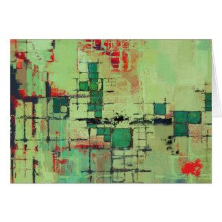 Green Lattice Abstract Art Card