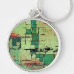 Green Lattice Abstract Art Key Chain
