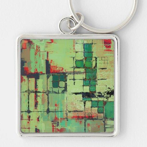 Green Lattice Abstract Art Keychains
