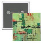 Green Lattice Abstract Art Pinback Button