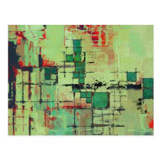 Green Lattice Abstract Art Postcard