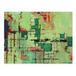 Green Lattice Abstract Art Postcards
