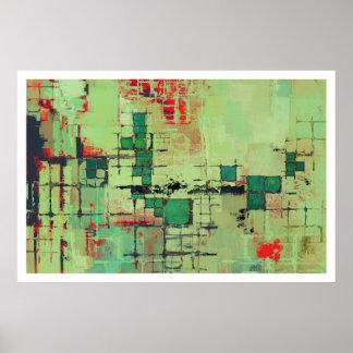 Green Lattice Abstract Art Print